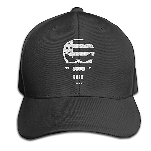 (American Sniper Punisher Skull Classic Cap Hats Fitted Black Baseball Cap)