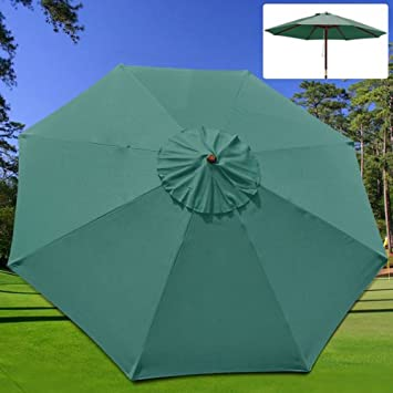 New 9u0027 FT Market Patio Garden Umbrella Replacement Canopy Canvas Cover Green & Amazon.com : New 9u0027 FT Market Patio Garden Umbrella Replacement ...