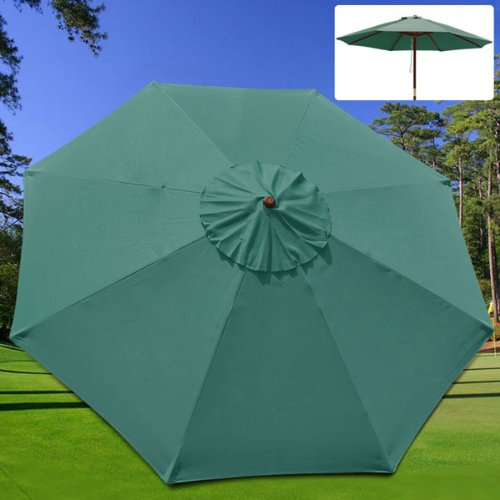 (New 9' FT Market Patio Garden Umbrella Replacement Canopy Canvas Cover Green )