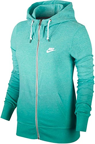 Nike Womens Gym Vintage Dip Dye Full Zip Hoodie, X-Small, Teal (Nike Raincoat Jackets)