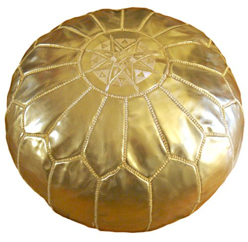 Royal Golden Moroccan Ottoman or Pouf by Star of Morocco
