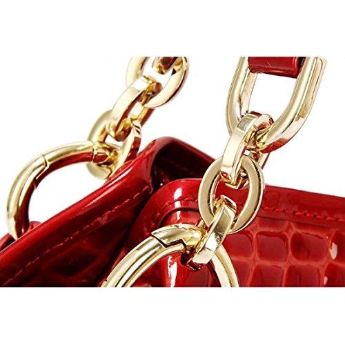 Delle Donne Del Modello Del Coccodrillo Di Moda Borsa A Tracolla Delle Donne,Red-OneSize