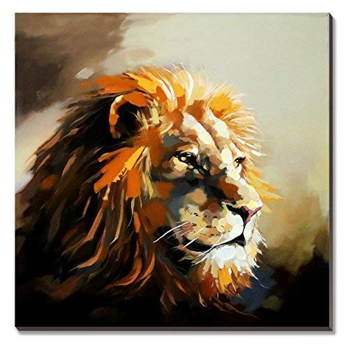 3Hdeko - Lion Canvas Wall Art Modern Animal Oil Painting Decorative Picture for Living Room Kid Bedroom Nursery, Ready to Hang (30X30inch) (Oil Pictures Painting)