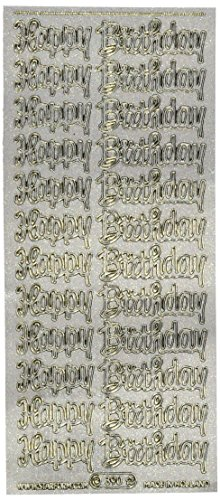 (Starform Sticker Text, Happy Birthday, Transparent Glitter Silver)
