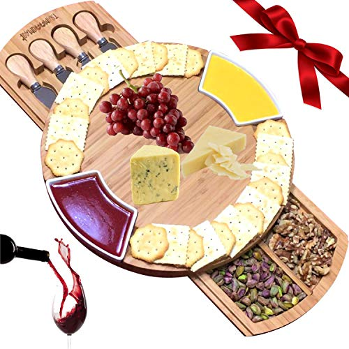 iBambooMart Cheese Board w/Cutlery Set, Bamboo Wood Charcuterie Platter & Meat Server, 4 Knife,4 Forks, 2 Bowls, Unique gifts for Christmas, Mom, Mothers, Women, Men Housewarming, Wedding, Birthday (Christmas 2 Crackers)