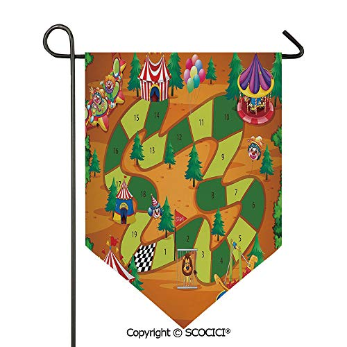 (SCOCICI Easy Clean Durable Charming 28x40in Garden Flag Circus Themed Design Jokers Tents Balloons Trees Playful Joyous Cartoon Field,Multicolor Double Sided Printed,Flag Pole NOT Included)
