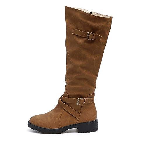 ecf74af0 Gusspower Botas Altas para Mujer Zapatos de Tobillo de Mujer Hebilla Tallas  Grandes Delgado Alto Sobre la Rodilla Recortar Plano Casual Zapatos:  Amazon.es: ...