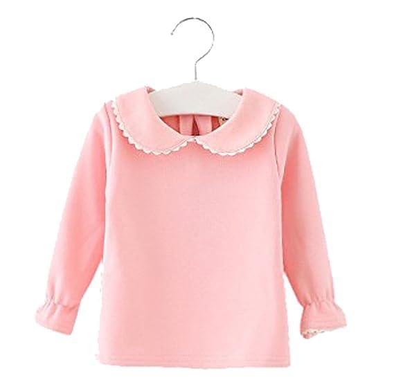 50cf9932ab74 Amazon.com  Baby Girls Infant Toddler Long Sleeves Thicken Velvet T ...