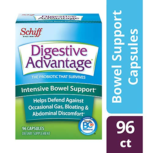- Intensive Bowel Support Probiotic Supplement - Digestive Advantage 96 Capsules, defends against gas, bloating, abdominal discomfort, Survives 100x Better than regular 50 billion CFU