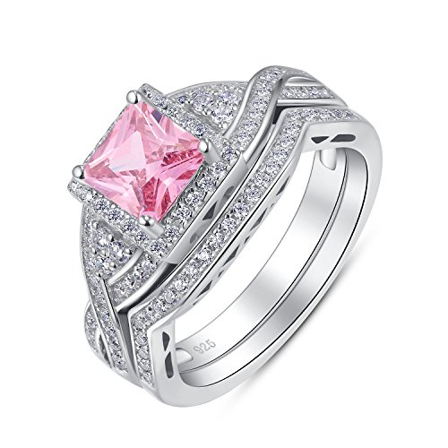 Sterling Silver 2 Pieces Princess Cut Cubic Zirconia Cross Shank Halo Style Engagement Ring Bridal Set (Pink, 10)