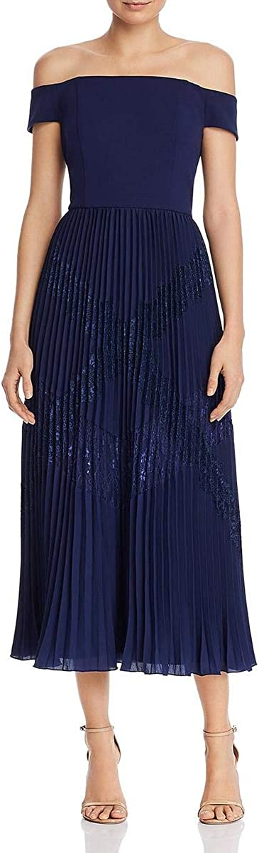 Aidan Mattox Aidan Womens Off-The-Shoulder Pleated Midi Dress