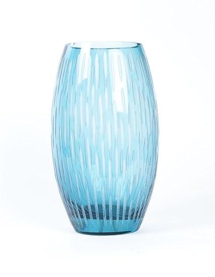 Amazon Home Decor Glass Vase Hand Blown Glass Art Blue