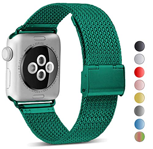 Seoaura Compatible Watch Band 38mm 40mm, Stainless Steel Milanese Loop Replacement Strap with Magnetic Closure Series 4 3 2 1 Sports (Celtics Green, 38mm/40mm)