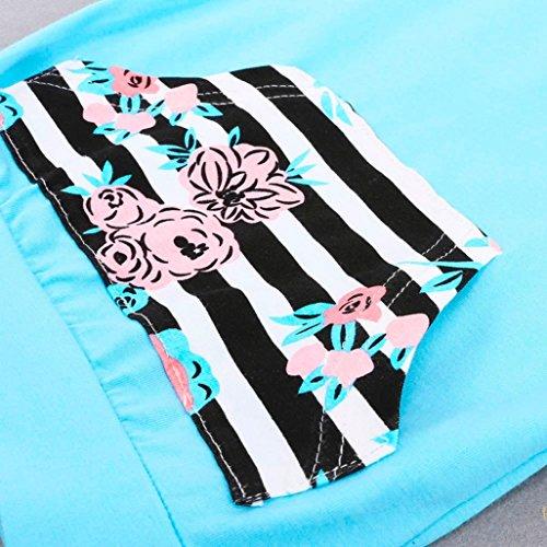 Omiky® 2pcs Neugeborene Säuglingsbaby-Kleidung stellte gestreifte Hoodie Tops + Blumenhosen Outfit ein Blau