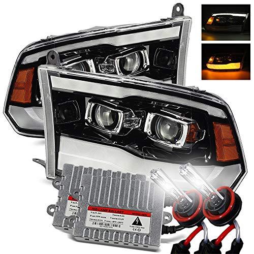 AlphaRex 6000K Xenon/Polished Black For 09-18 Ram 1500/10-18 Ram 2500/3500 DRL/Signal LED Dual Projector Headlights