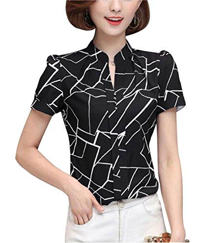 Womens Floral Printed Pattern Shirt Pullover Blouse Short Sleeve Mandarin Collar Tops Black -