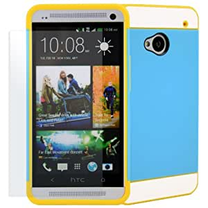 CellJoy HTC One M7 2013 (Not One X One S) [Vivid Hybrid] 2PC Layered Hard Case Rubber Bumper Cover + HD Ultra Clear Screen Protector - Retail Packaging (Blue / Yellow / White)