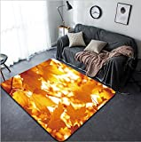 Vanfan Design Home Decorative 153266987 Abstract foliage background beautiful tree branch in autumnal forest bright warm sun light orange dry maple leaves autumn season Modern Non-Slip Doormats Carpet