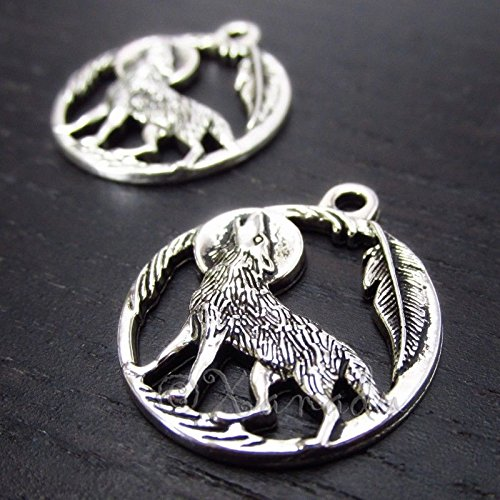 OutletBestSelling Pendants Beads Bracelet Howling Wolf 25mm Wholesale Antiqued Silver Plated Charms 5pcs