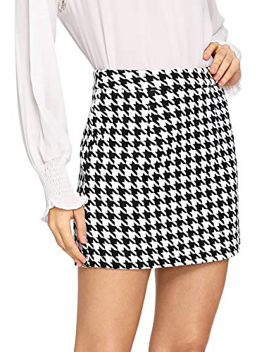 WDIRARA Women's Mid Waist Houndstooth Bodycon Pencil Mini Skirt Black and White M