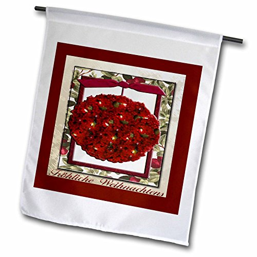 3dRose fl_37018_1 Frohliche Weihnachten Merry Christmas in German Cranberry Ornament Garden Flag, 12 by 18-Inch