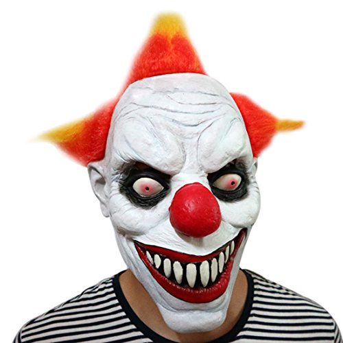 Freahap Clown Mask Halloween Mask With Hair Latex Scary Face For (Zombie Horror Flesh Grey Makeup)