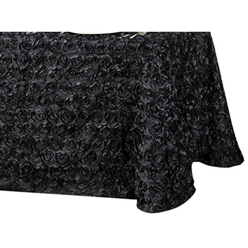 LinenTablecloth Rosette Satin Rectangular Tablecloth, 88 by 154-Inch, Black ()