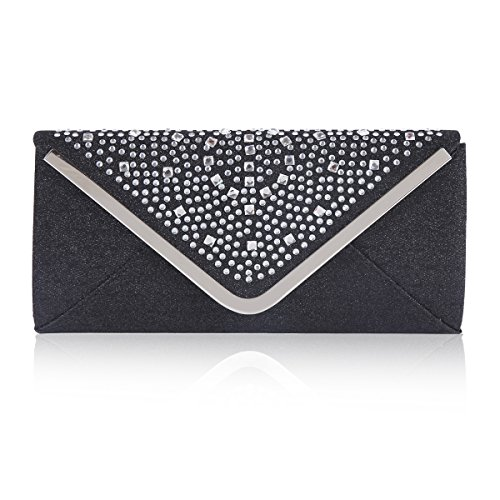 Rhinestone Womens Bag Envelope Triangle Wedding Black Flap Damara AUawqE44