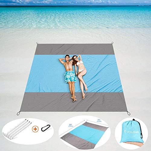 FYLINA Sand Free Beach Blanket Oversized Waterproof Blanket Mat 7x9ft - Quick Drying Nylon Compact Outdoor Picnic Beach Mat Ideal for Travel, Hiking, Camping with Weightable Pockets + 4 Anchor Stakes