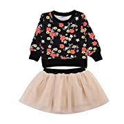 2PCS Toddler Baby Girl Fall Winter Floral Tops+ Princess Tutu Dress Set (6-12M)