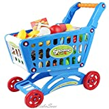 HOME HUT Kids Childrens Shopping Trolley cart Play Set Toy Gift Plastic Fruit (Blue, Large)