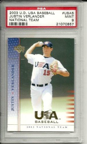 2003 usa baseball justin verlander rookie graded psa 9 from my casino chips