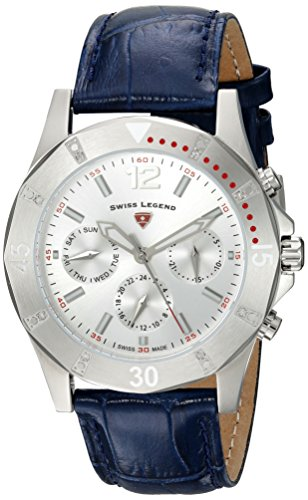 Swiss Legend Women's 'Paradiso' Quartz Stainless Steel and Leather Casual Watch, Color:Blue (Model: 16016SM-02-BLS)