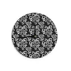 KESS InHouse Mydeas Sweetheart Damask Black & White Pattern Wall Clock, 12