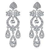 EVER FAITH Bridal Silver-Tone Flower Vase Chandelier Pierced Dangle Earrings Austrian Crystal Clear