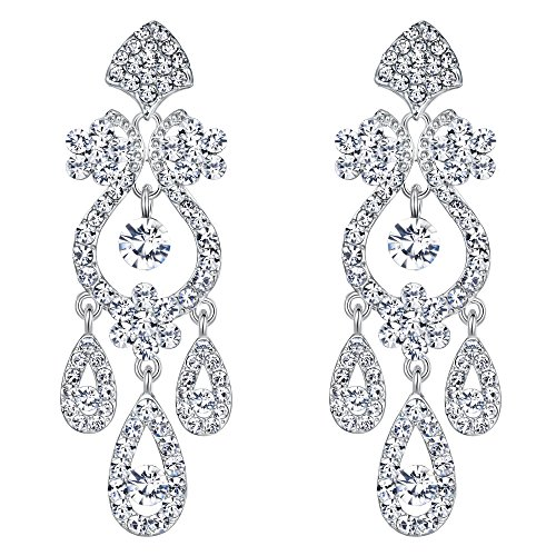 EVER FAITH Bridal Silver-Tone Flower Vase Chandelier Pierced Dangle Earrings Austrian Crystal Clear