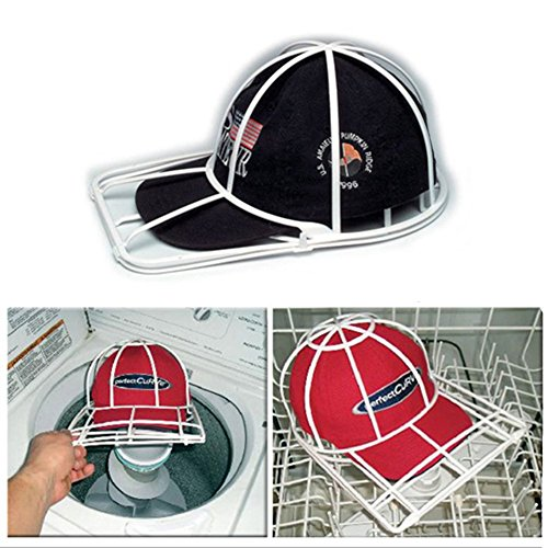 sher Frame-Hat Washing Cage-Clean Your Cap Organizer, Hat Rack Cap Holder entirely in Your Dishwasher Washing Machine (White) ()