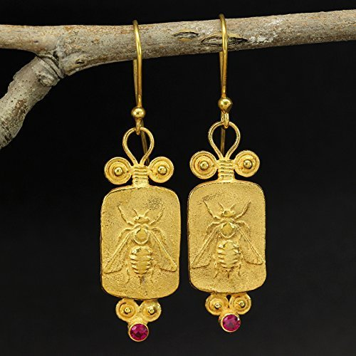 Honey Bee Coin Greek Art Dangle Earrings 925 Solid Sterling Silver 24K Yellow Gold Vermeil Cubic Zirconia Handcrafted Artisan Hook Earrings ()