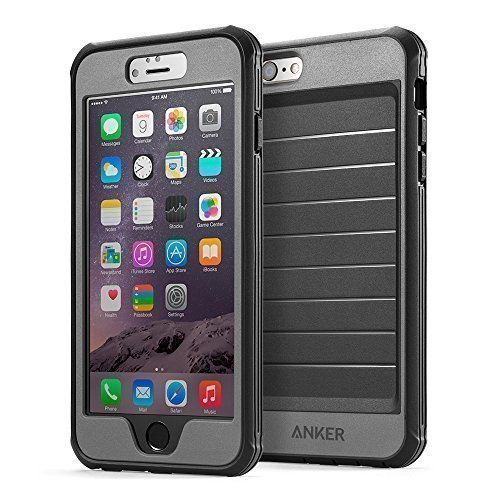 iPhone 6s Plus Case, Anker Ultra Protective Case With Built-in Clear Screen Protector for iPhone 6 Plus / iPhone 6s Plus (5.5 inch) , Dust Proof Design (Black/Grey)