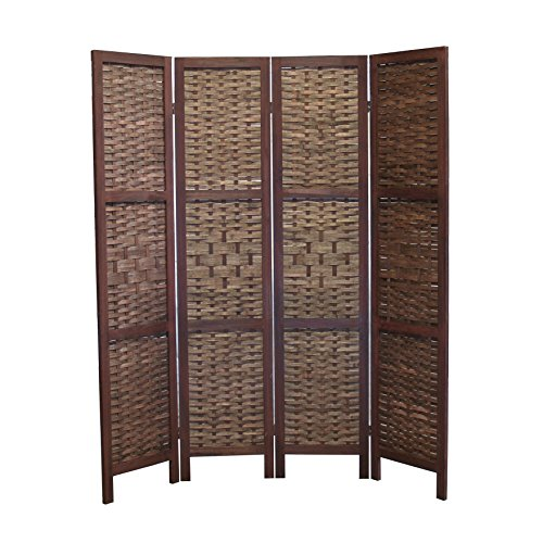 Proman Products Saigon Folding Screen Wood Frame with Bamboo Inserts, 60 x 67 x 1, Brown by Proman Products