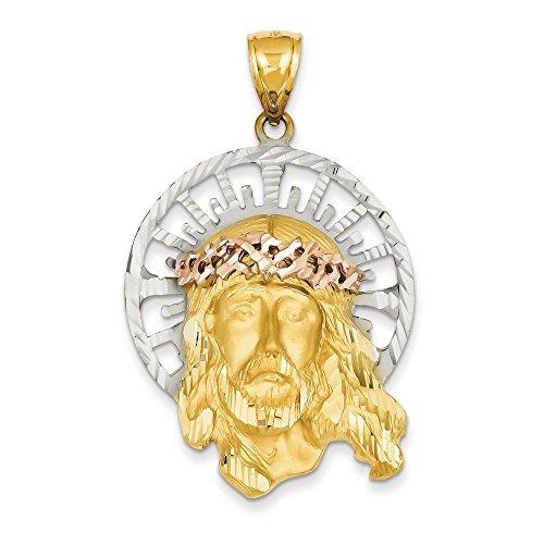 Tri-Color 14 carats pendentif de Jésus-Dimensions :  56 x 47,2 mm-JewelryWeb