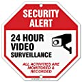 "24 Hour Video Surveillance Sign, Security Camera Sign Warning for CCTV Recording System, Octagon Shaped Outdoor Rust-Free Metal, 12"" x 12"" - by My Sign Center, 21103F7-A4"