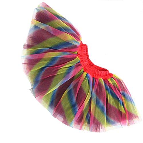 wexcen Girl's Tutu Skirt 3 Layers Princess Dress Ballet Tulle Halloween Dress up Skirt for 3-8T Rainbow ()