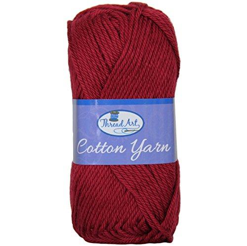 Threadart Crochet Cotton Yarn - #4 - Burgundy - 50 Gram Skeins - 85 yds (Cotton Burgundy Yarn)