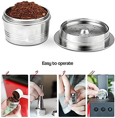 Elitlife - Cápsula de café Reutilizable con Filtro Reutilizable, Adaptador de cápsulas para cafeteras con 1 cápsula Recargable, 1 Cepillo y 1 Cuchara: Amazon.es: Hogar