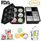 Ice Cube Trays 2 Pack, Umwon Easy-Release 2'' Silicone 6-Ice Ball Maker and 6-Large Square Ice Cube Mold with Collapsible Funnel and Dropper, FDA Approved, BPA Free and Dishwasher Safe