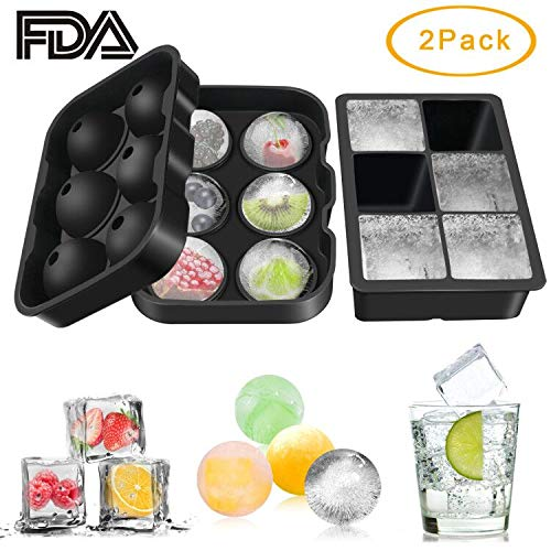Ice Cube Trays 2 Pack, Umwon Easy-Release 2 Silicone 6-Ice Ball Maker and 6-Large Square Ice Cube Mold with Collapsible Funnel and Dropper, FDA Approved, BPA Free and Dishwasher Safe