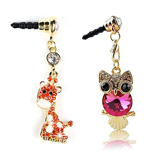 MOLLYCOOCLE 2 Pack Bling Shiny Diamonds Dust Plug, Cell Charms Ear Jack for iPhone 6 Plus 5 5S / iPod Touch / Samsung Galaxy Series / Samsung Note Series Ear Jack - Owl & Deer