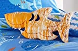 Sea World Shaped Filled Cushion, Shark Fish, Orange White, 35cm x 22cm approx. by Kids Club