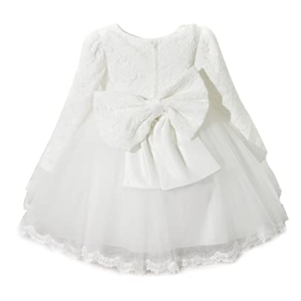 Vestito Principessa Bambine Abiti Per Cerimonia Matrimonio Damigella Bimba  Maniche Lunghe Pizzo Bowknot Filati Netti Elegant b436a8b480f